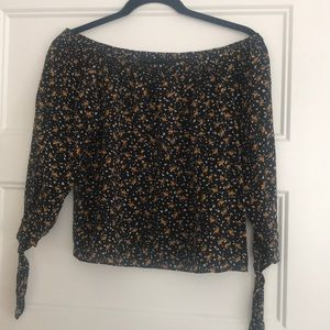 Madewell off the shoulder long sleeve silk blouse